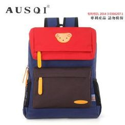 Ausqi - Kids Color-Block Bear Canvas Backpack