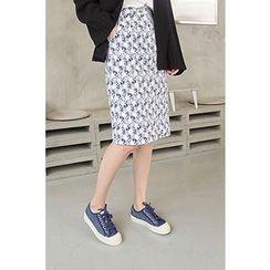 CHERRYKOKO - Floral Pattern H-Line Skirt