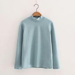 Piko - Mock-neck Plain T-shirt
