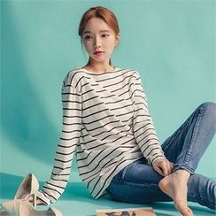 ERANZI - Round-Neck Striped T-Shirt