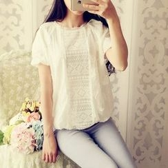 Cobblestone - Short-Sleeve Lace Top