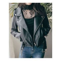Chlo.D.Manon - Belted Faux-Leather Biker Jacket