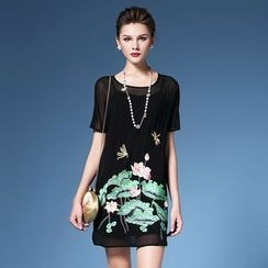 Elabo - Set: Embroidered Short Sleeve Dress + Slipdress
