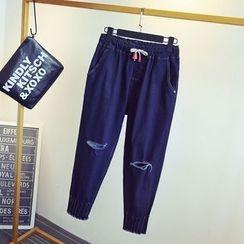KASA - Ripped Drawstring Jeans