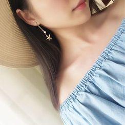 ChuChuAcc - Star & Shell Asymmetric Drop Earrings