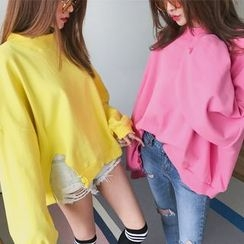 DABAGIRL - Distressed Oversized Cotton Sweatshirt