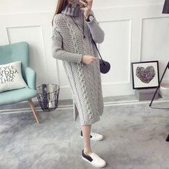 Qimi - 樽領麻花針織毛衣連衣裙