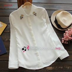 Flower Idea - Long-Sleeve Rhinestone Chiffon Blouse