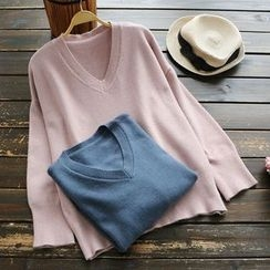 YOYO - Long-Sleeve V-Neck Knit Top