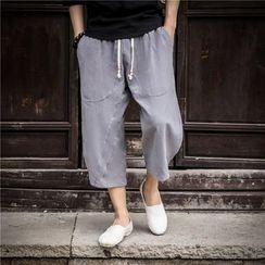 Titular - Drawstring Wide Leg Cropped Pants