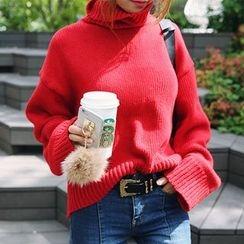 DABAGIRL - Turtle-Neck Wool Blend Sweater