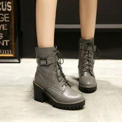 佳美 - 粗跟厚底系带短筒靴