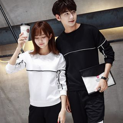 Bonne Nuit - Couple Matching Faux Leather Panel Sweatshirt
