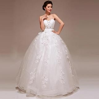 Pure Colors - Sweetheart-Neckline Rhinestone Wedding Dress