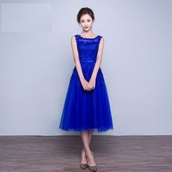 Fantasy Bride - Sleeveless Midi Prom Dress