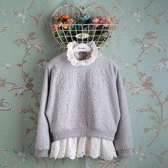 Kidora - 童装蕾丝下摆套头衫
