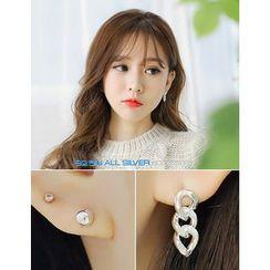 soo n soo - Asymmetric Silver Stud Earrings