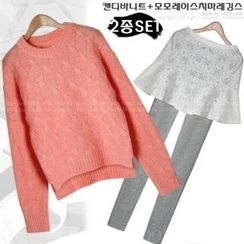 Miss Look - Set: Cable-Knit Top + Inset Lace Skirt Leggings