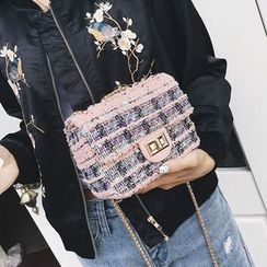 Youshine - Woven Buckled Shoulder Bag