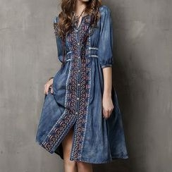 KERR - Embroidered Elbow-Sleeve Denim Dress