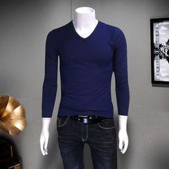 Telvi - Plain V-Neck Long-Sleeve T-Shirt