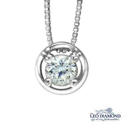 Leo Diamond - 18K White Gold Halo Four Prong Diamond Pendant Necklace (16')