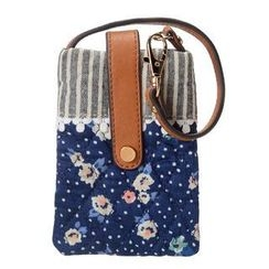 ans - Floral Striped Panel Mobile Pouch