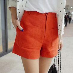 Sienne - Plain Linen Cotton Wide Leg Shorts