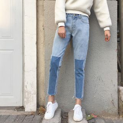 Chililala - Two-Tone Cropped Jeans