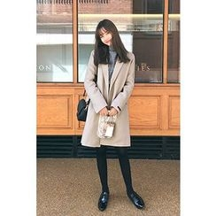 CHERRYKOKO - Single-Breasted Wool Blend Coat