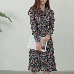 Moon City - Long-Sleeve Floral Chiffon Midi Dress