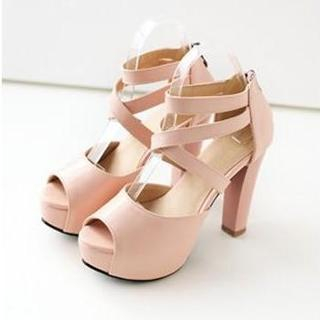 JY Shoes - Strappy Platform Heeled Sandals