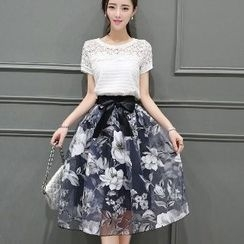 Romantica - Set: Lace Top + Floral Skirt