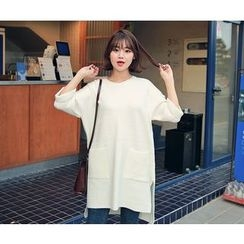 HOTPING - Slit-Side Knit Dress