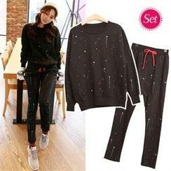 clicknme - Set: Brushed-Fleece Paint-Splatter Sweatshirt + Sweatpants