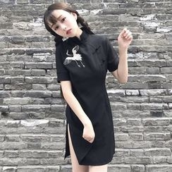 Bloombloom - Embroidered Mandarin Collar Side-Slit A-Line Dress