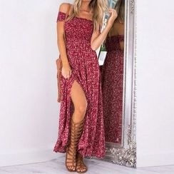 Flobo - Off-Shoulder Printed Slit-Front Maxi Dress
