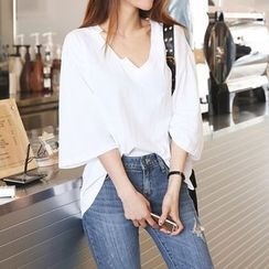 DABAGIRL - Cutout V-Neck Linen Blend T-Shirt