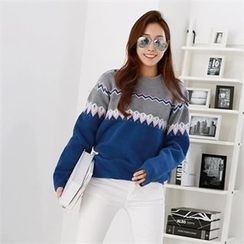 PIPPIN - Color-Block Nordic Pattern Knit Top