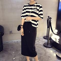 Cloud Nine - Set: Striped Crewneck T-Shirt + Drawstring Waist Midi Skirt
