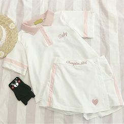 CIYEBABY - Set: Short-Sleeve Embroidered Polo Shirt + Skirt