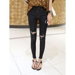 hellopeco - Distressed Skinny Jeans
