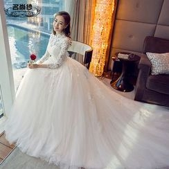 MSSBridal - 3/4 Sleeve Wedding Ball Gown with Train