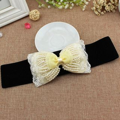 Coco Rush - Faux Pearl Embellished Bow Elastic Belt