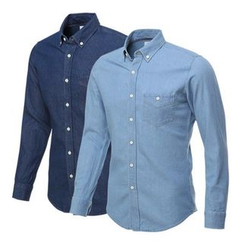 Seoul Homme - Contrast-Button Denim Shirt