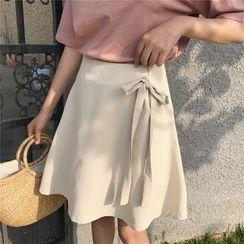 Windflower - 纯色领带细节A字裙
