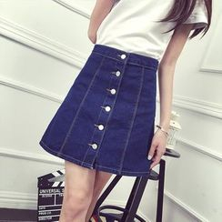 Nassyi - Buttoned A-Line Denim Skirt