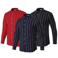Seoul Homme - Mandarin-Collar Striped Shirt (3 Colors)