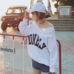 Champi - Letter Off-Shoulder T-Shirt