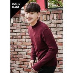 JOGUNSHOP - Mock-Neck Colored Knit Top